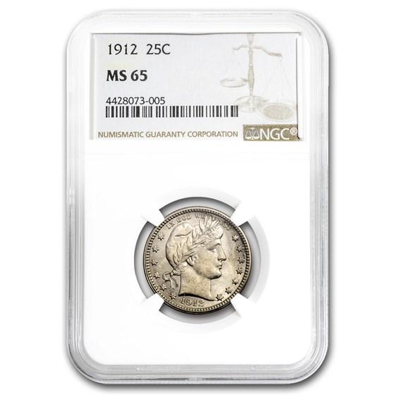 1912 Barber Quarter MS-65 NGC