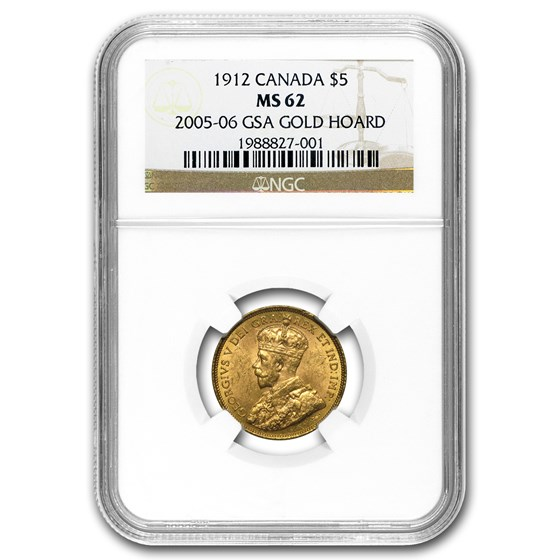 1912 Canada Gold $5 King George V MS-62 NGC