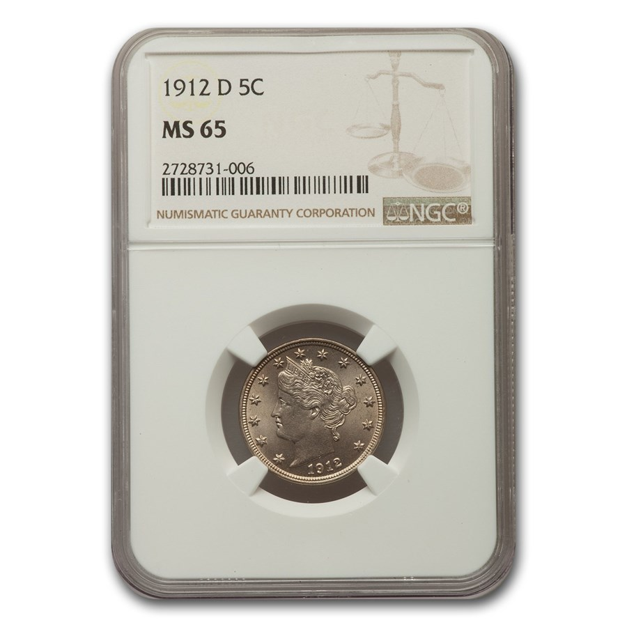 1912-D Liberty Head V Nickel MS-65 NGC