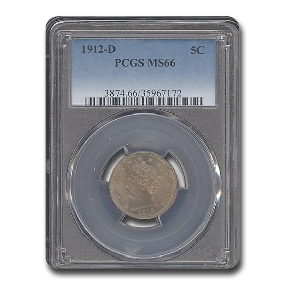 1912-D Liberty Head V Nickel MS-66 PCGS