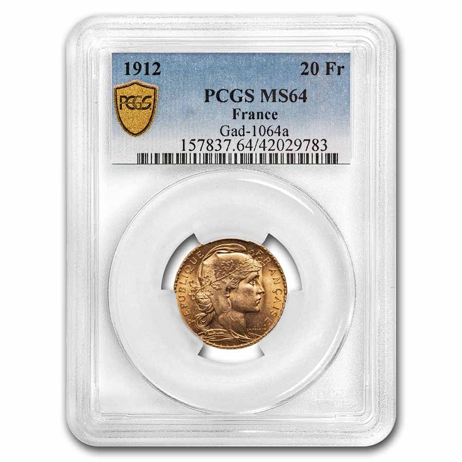 1912 France Gold 20 Francs Rooster MS-64 PCGS
