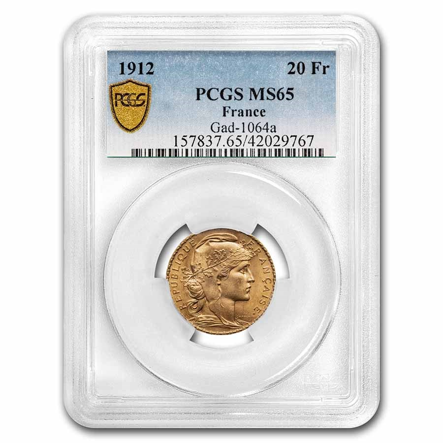 1912 France Gold 20 Francs Rooster MS-65 PCGS