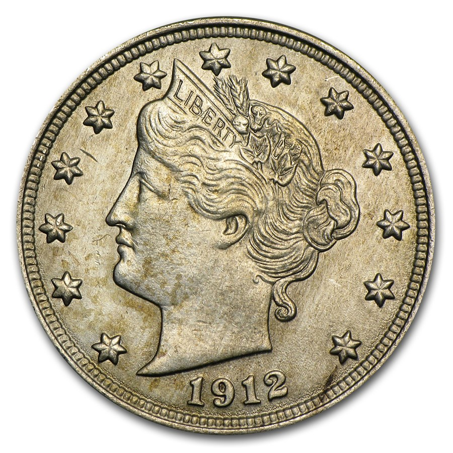 1912 Liberty Head V Nickel MS-60 Details (Cleaned)