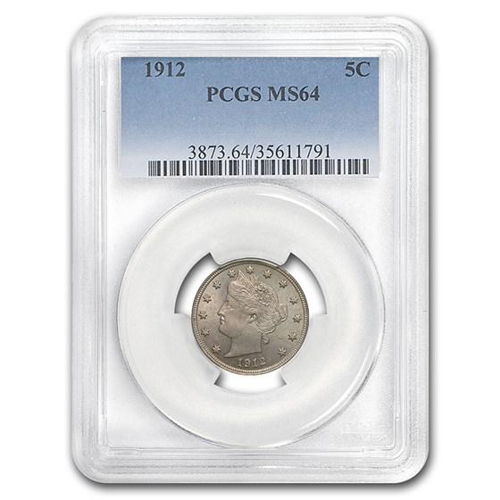 1912 Liberty Head V Nickel MS-64 PCGS
