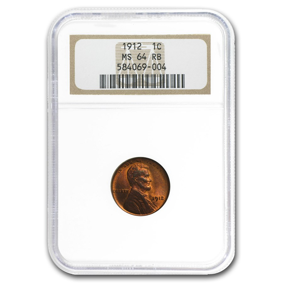 1912 Lincoln Cent MS-64 NGC (Red/Brown)