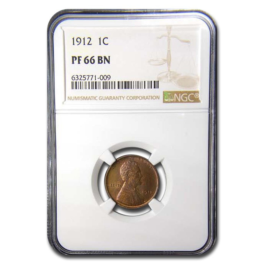 1912 Lincoln Cent PF-66 NGC (Brown)