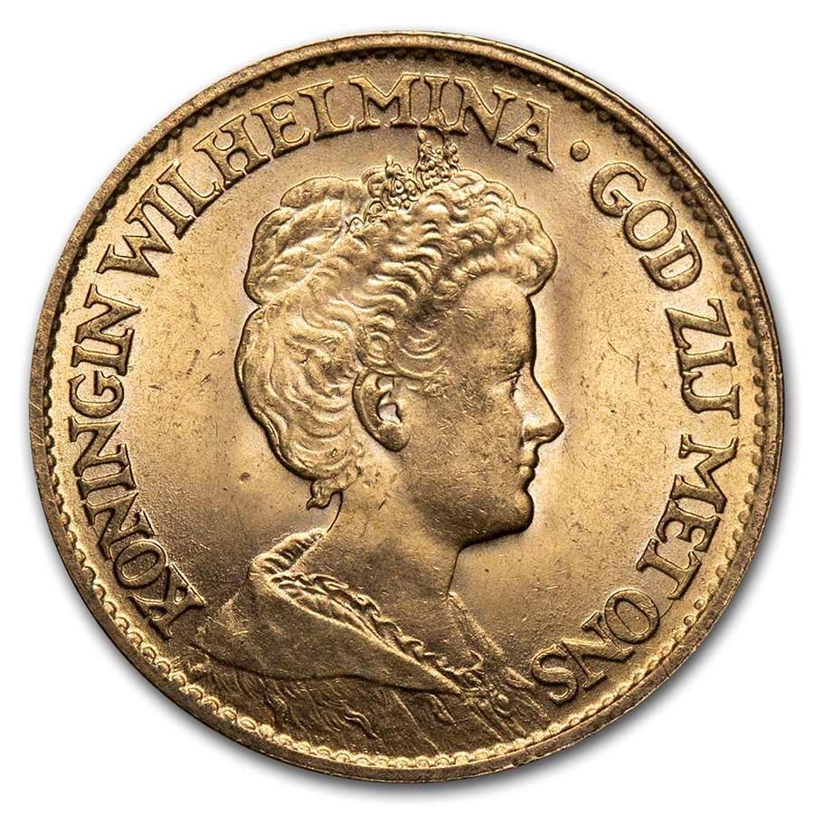 1912 Netherlands Gold 10 Gulden Wilhelmina I BU