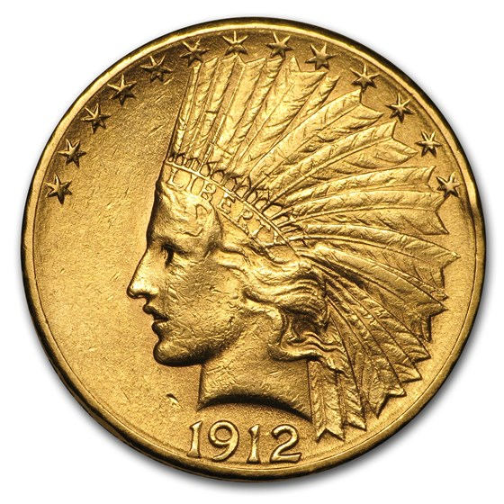 1912-S $10 Indian Gold Eagle AU Details (Cleaned)
