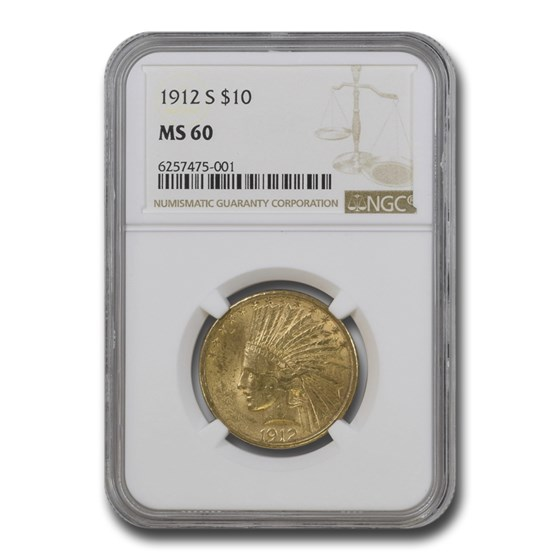 1912-S $10 Indian Gold Eagle MS-60 NGC