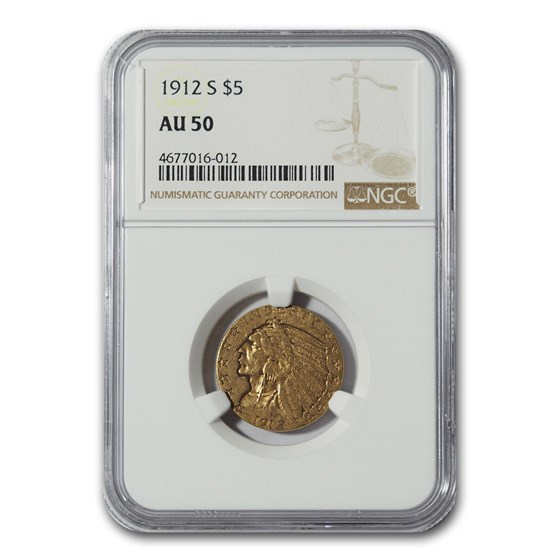 1912-S $5 Indian Gold Half Eagle AU-50 NGC