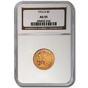 1912-S $5 Indian Gold Half Eagle AU-55 NGC