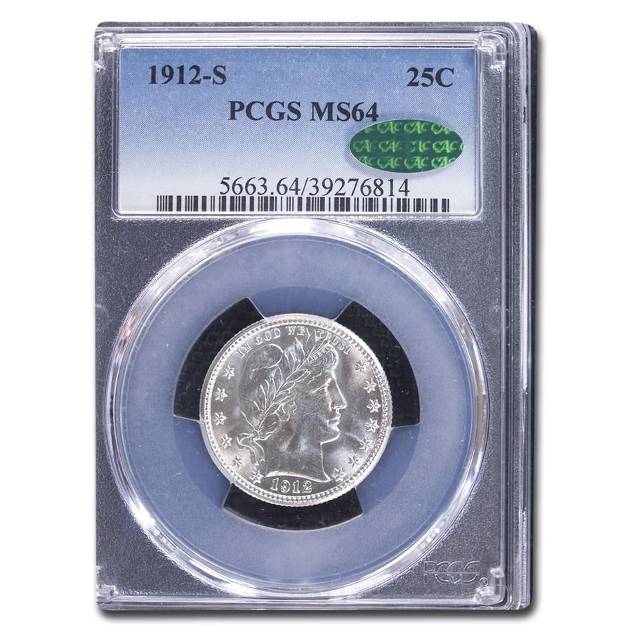 1912-S Barber Quarter MS-64 PCGS CAC