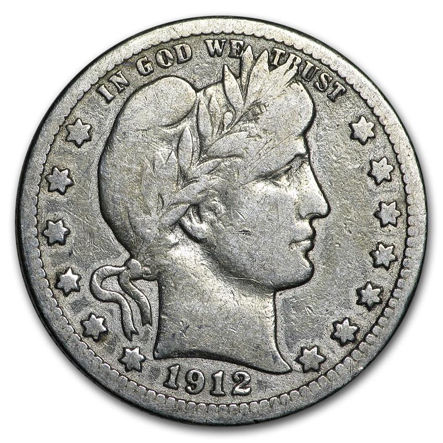 1912-S Barber Quarter VG