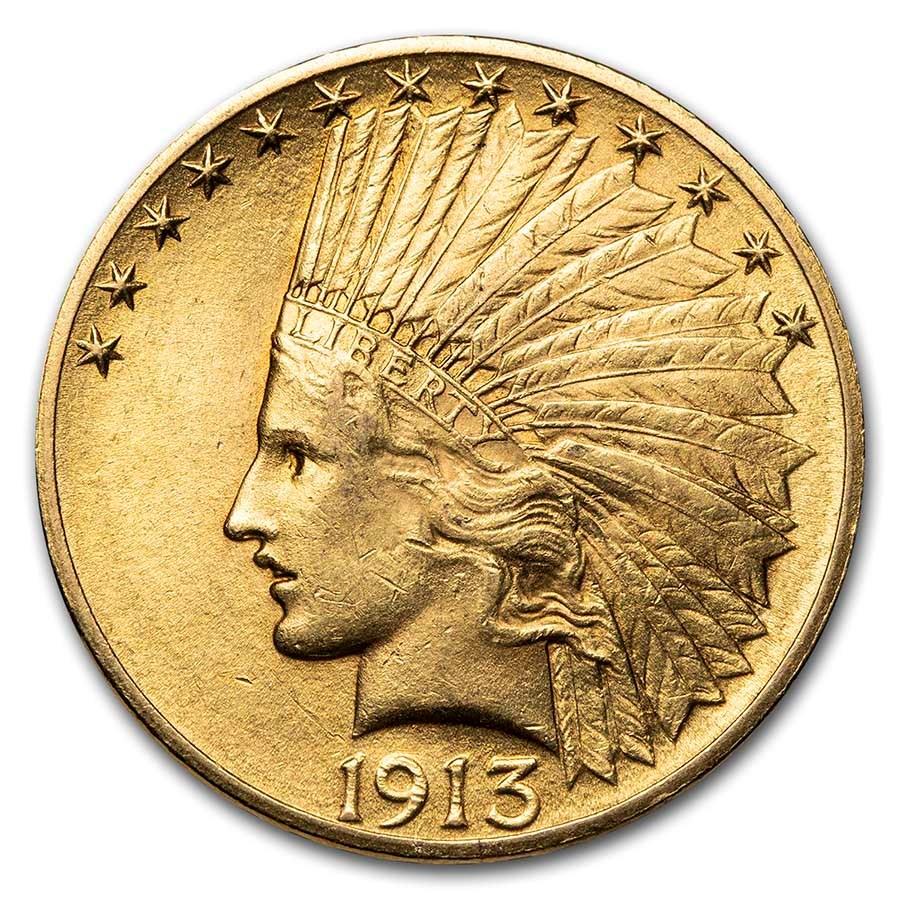 1913 $10 Indian Gold Eagle AU