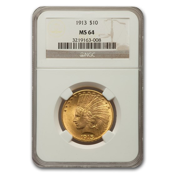1913 $10 Indian Gold Eagle MS-64 NGC