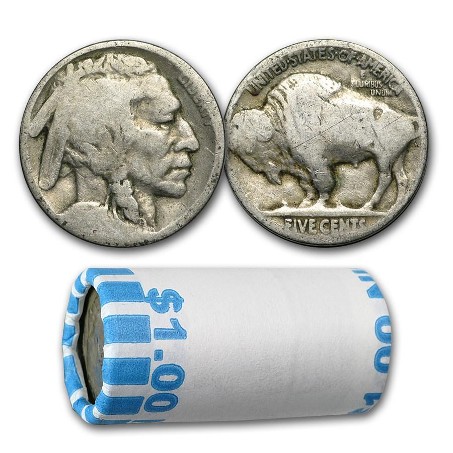 1913-1938 Buffalo Nickels $1 Face Value Roll (No Dates)