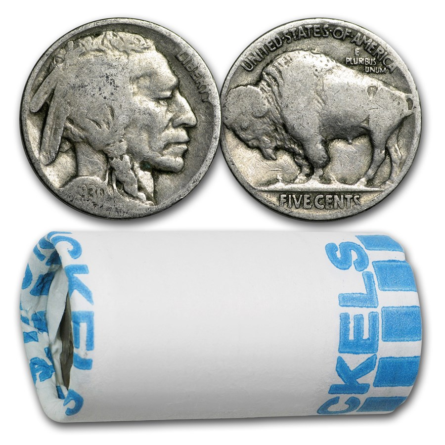 1913-1938 Buffalo Nickels $1 Face Value Roll (Partial Dates)
