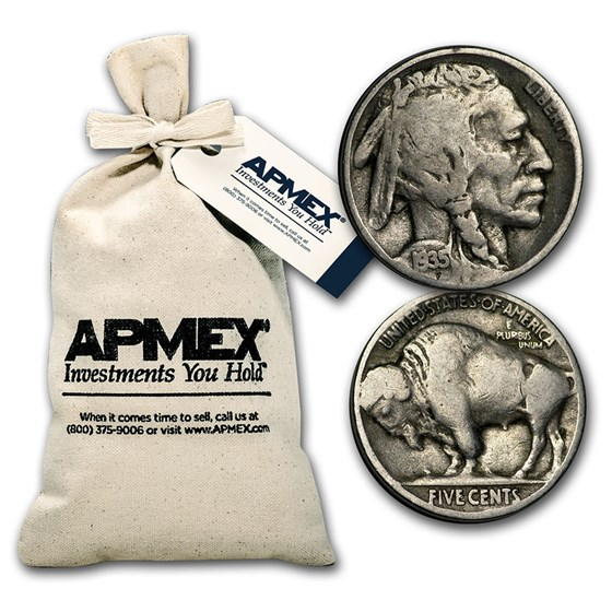 1913-1938 Buffalo Nickels $50 Face Value Bag (Full Dates)