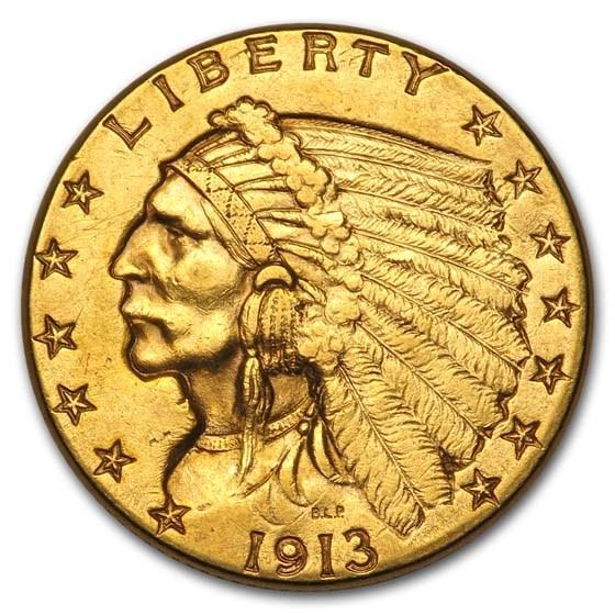 1913 $2.50 Indian Gold Quarter Eagle AU