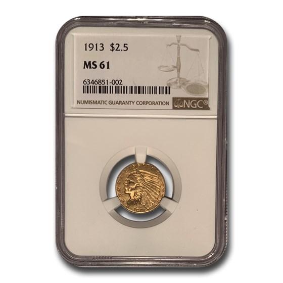 1913 $2.50 Indian Gold Quarter Eagle MS-61 NGC