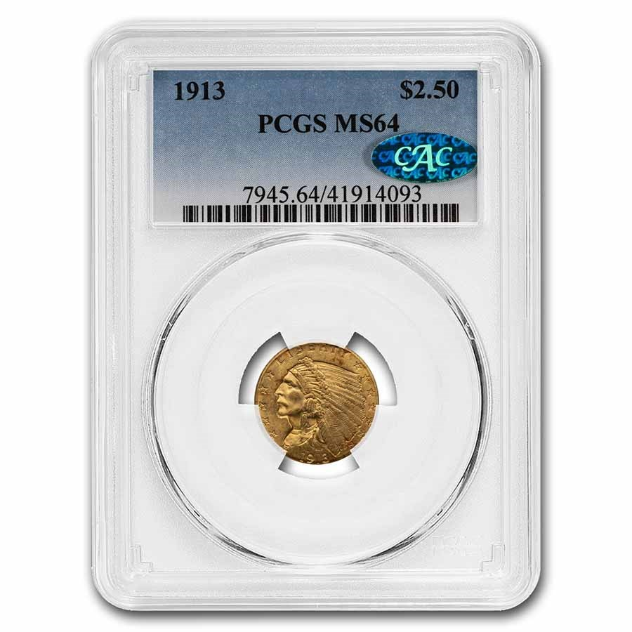 1913 $2.50 Indian Gold Quarter Eagle MS-64 PCGS CAC