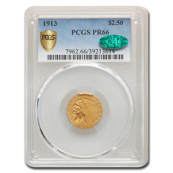 1913 $2.50 Indian Gold Quarter Eagle PR-66 PCGS CAC