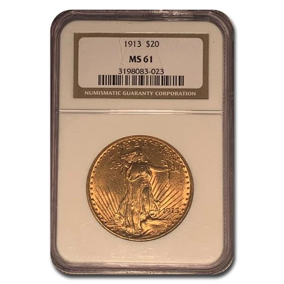 1913 $20 Saint-Gaudens Gold Double Eagle MS-61 NGC