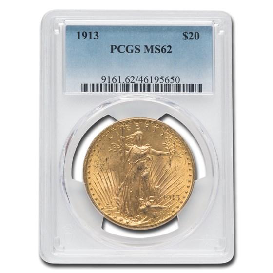 1913 $20 Saint-Gaudens Gold Double Eagle MS-62 PCGS