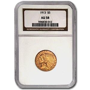 1913 $5 Indian Gold Half Eagle AU-58 NGC