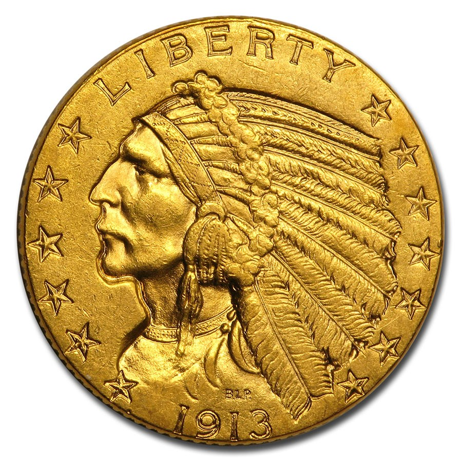 1913 $5 Indian Gold Half Eagle AU
