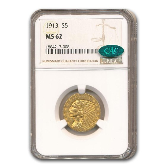 1913 $5 Indian Gold Half Eagle MS-62 NGC CAC