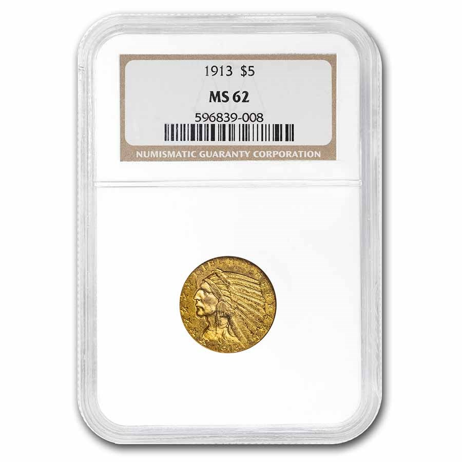 1913 $5 Indian Gold Half Eagle MS-62 NGC