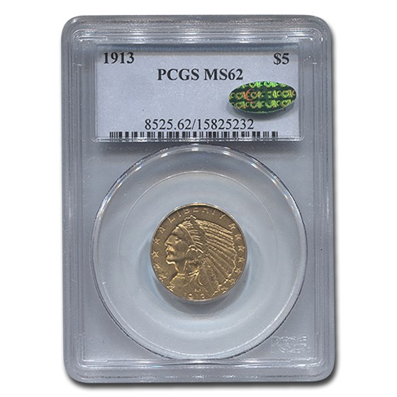 1913 $5 Indian Gold Half Eagle MS-62 PCGS CAC