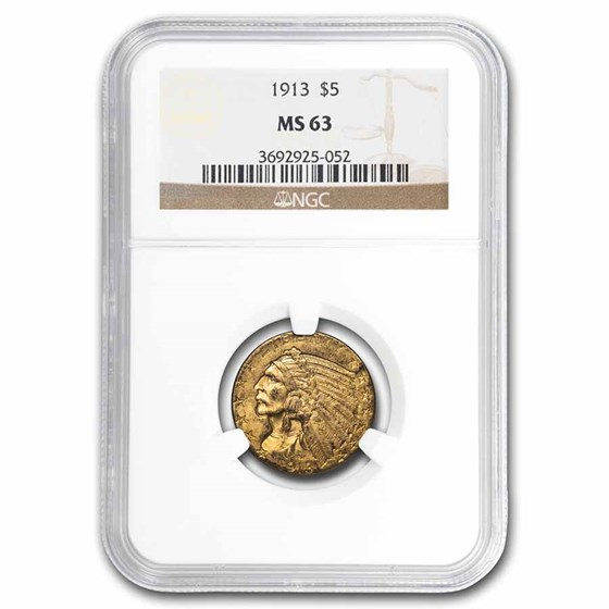 1913 $5 Indian Gold Half Eagle MS-63 NGC