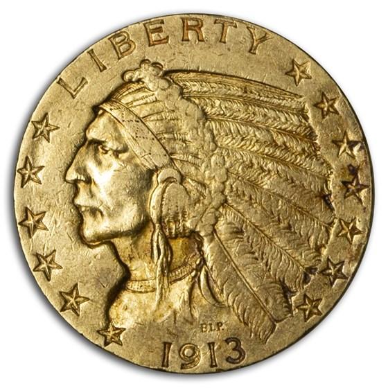 1913 $5 Indian Gold Half Eagle XF