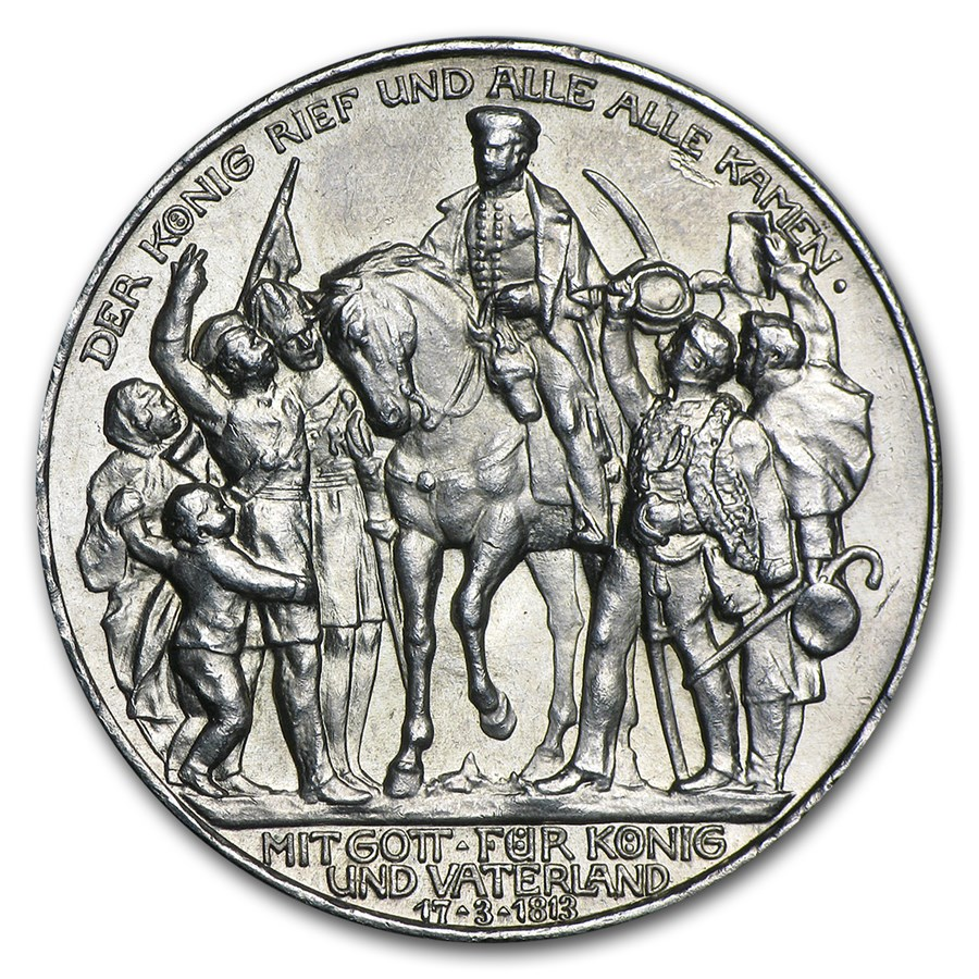 1913-A Germany Silver 3 Mark Prussia 100th Anniversary Avg Circ