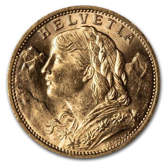 1913-B Swiss Gold 20 Francs Helvetia BU