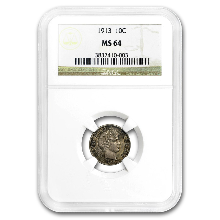 1913 Barber Dime MS-64 NGC (Toned)
