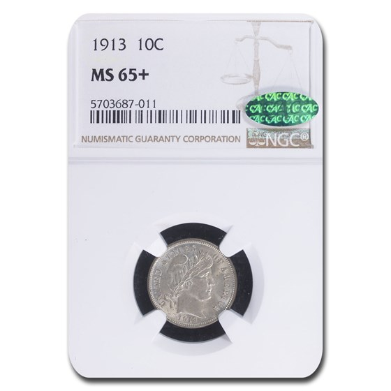 1913 Barber Dime MS-65+ NGC CAC