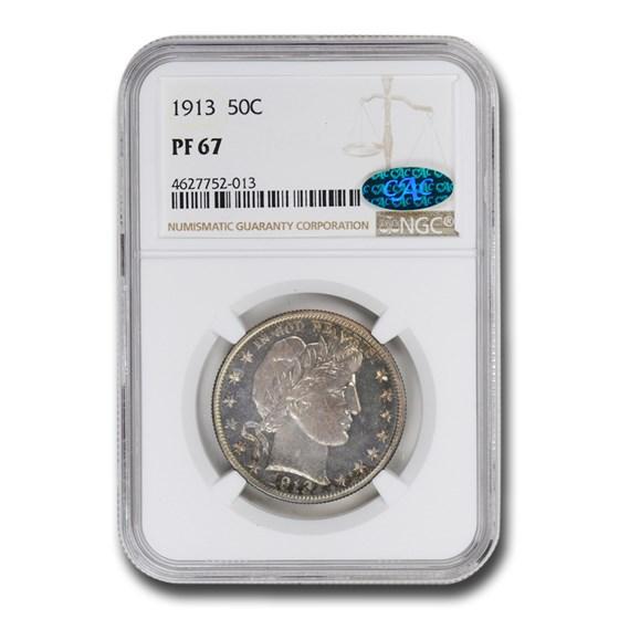 1913 Barber Half Dollar PF-67 NGC CAC