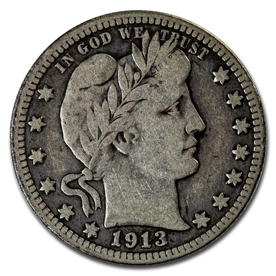 1913 Barber Quarter Fine