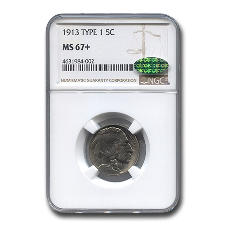 1913 Buffalo Nickel Type-1 MS-67+ NGC CAC