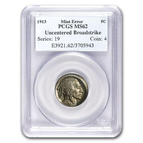 1913 Buffalo Nickel Type-II MS-62 PCGS Mint Error (Broadstrike)