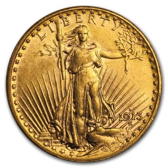 1913-D $20 Saint-Gaudens Gold Double Eagle AU