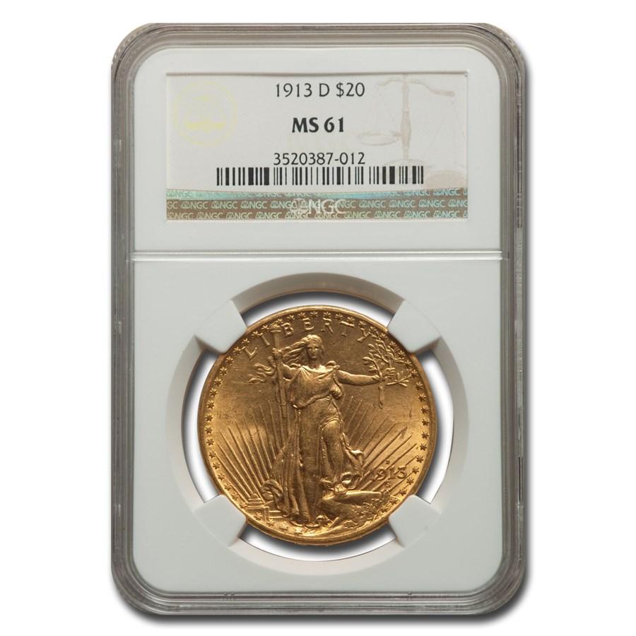 1913-D $20 Saint-Gaudens Gold Double Eagle MS-61 NGC