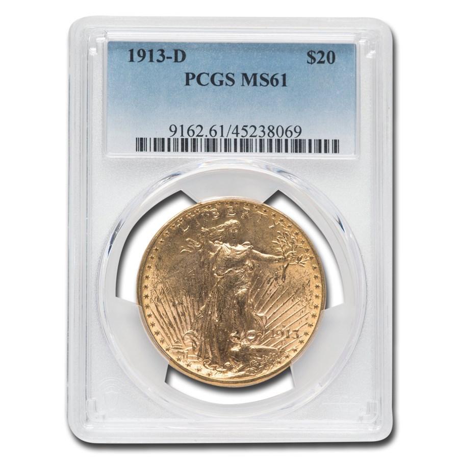 1913-D $20 Saint-Gaudens Gold Double Eagle MS-61 PCGS
