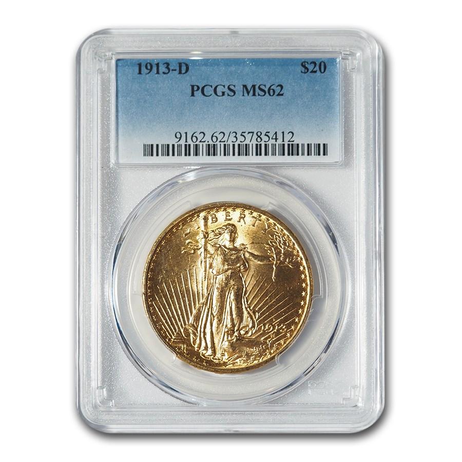 1913-D $20 Saint-Gaudens Gold Double Eagle MS-62 PCGS