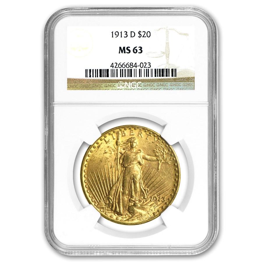 1913-D $20 Saint-Gaudens Gold Double Eagle MS-63 NGC