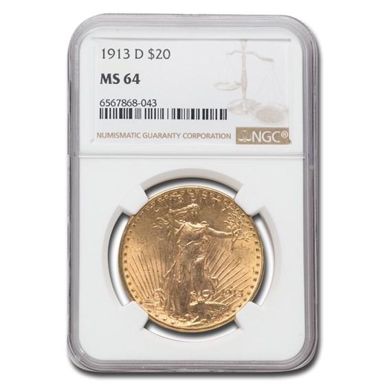 1913-D $20 Saint-Gaudens Gold Double Eagle MS-64 NGC