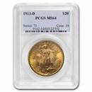 1913-D $20 Saint-Gaudens Gold Double Eagle MS-64 PCGS